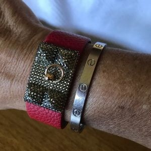 Jewelry - Red Faux Leather Crystal Pyramid Bracelet Cuff